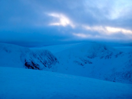 Still a snowy covering in Sneachda today. A few climbers out and about today, Looks like quite a bit of clearing off the beaten track!