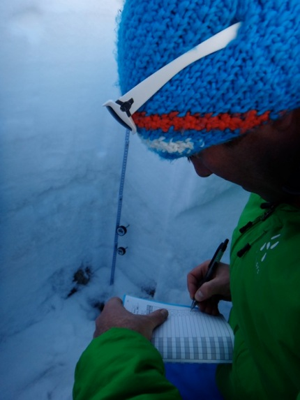Bruce Goodlad working a snow profile at La Grave.